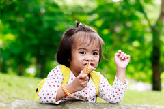 Asian baby girl eating icecream Royalty Free Stock Photos