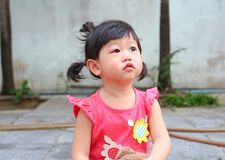 Asian baby girl eye swell. Allergy after mosquitoes biting at eye small girl royalty free stock photo