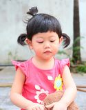 Asian baby girl eye swell. Allergy after mosquitoes biting at eye small girl stock photography