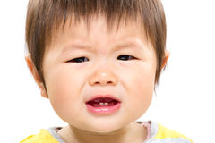 Asian baby girl feeling angry. Isolated on white Royalty Free Stock Photography