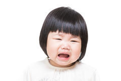 Asian baby girl feeling unhappy Stock Photos