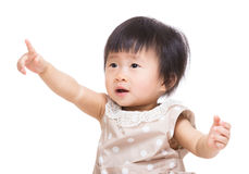 Asian baby girl finger point up Royalty Free Stock Photography