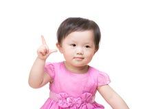 Asian baby girl finger show tick symbol Royalty Free Stock Photos