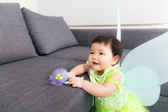Asian baby girl with halloween party dressing Royalty Free Stock Image
