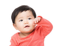 Asian baby girl hand up Royalty Free Stock Photo