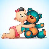 Asian baby girl with hugs Teddy Bear toy on a Stock Photography