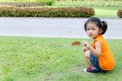 Asian baby girl picking dry leaf Stock Images