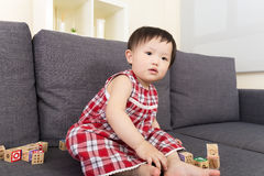 Asian baby girl play with toy block Stock Photography
