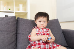 Asian baby girl play with toy block Stock Photos