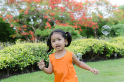 Asian baby girl playing bubble Stock Photos