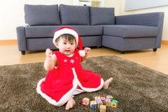 Asian baby girl playing toy block Royalty Free Stock Image