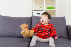Asian baby girl playing toy Stock Image