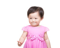 Asian baby girl point to front Stock Photo