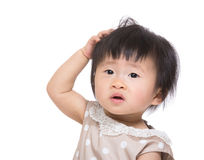 Asian baby girl scratch head Royalty Free Stock Image