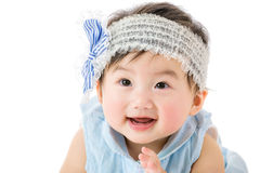 Asian baby girl smile. Isolated on white Royalty Free Stock Photography