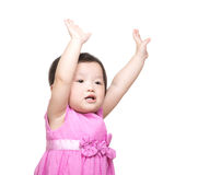 Asian baby girl two hand up Royalty Free Stock Photos