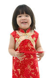 Asian baby holding ang pow or red packet monetary gift Stock Image