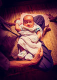 Asian baby infant and great-grandparents Stock Photos