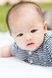 Asian baby lie prone on ground at park. Cute Asian baby lie prone on ground at park Stock Photography