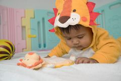 Asian baby lying and play lion teddy royalty free stock photo