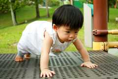 Asian Baby in Park Stock Images