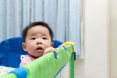 Asian baby in playpen Royalty Free Stock Photos