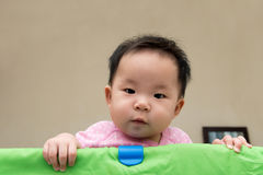 Asian baby in playpen Stock Photo