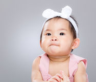 Asian baby portrait. With gray background Royalty Free Stock Images