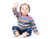 Asian baby say hi. Isolated on white Royalty Free Stock Photos