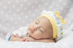 Asian baby sleeping stock photo