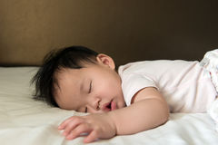 Asian baby sleeping Royalty Free Stock Images