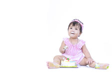Asian baby smear birthday cake on white background Stock Photography