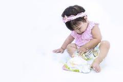 Asian baby smear cake on white background stock image
