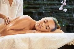 Asian back massage therapy spa hot stone. Relaxation stock image