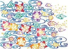 Asian background. Bingata design. Royalty Free Stock Images