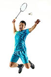 Asian badminton player man isolated Royalty Free Stock Photo