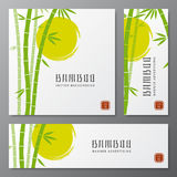 Asian bambu threes cards or japanese bamboo banners vector illustration Royalty Free Stock Photos