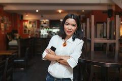 Asian bar owner Royalty Free Stock Photo