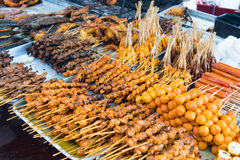 Asian barbecue food. Variety of Asian style barbecue stick food Royalty Free Stock Photos