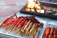Asian barbecue food. Variety of Asian style barbecue stick food Royalty Free Stock Images