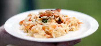 Asian basmati rice risotto with grilled prawns Royalty Free Stock Photo