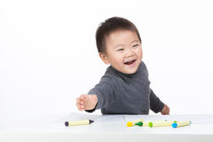 Asian bay boy enjoy drawing Stock Photo