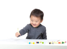 Asian bay boy focus on drawing Stock Photos