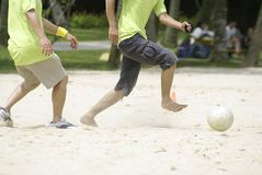 Asian beach soccer on sand Stock Image