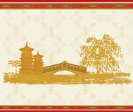 Asian beautiful abstract landscape. Illustration Stock Photos