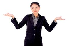 Asian beautiful business woman is acting of boring by shrugged on white background stock images