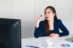 Asian beautiful business woman happy with new her idea royalty free stock photos