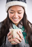 asian beautiful coffee drinking woman Στοκ φωτογραφία με δικαίωμα ελεύθερης χρήσης