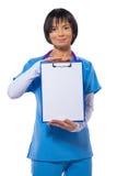 Asian beautiful female doctor wearing blue uniform Stock Image