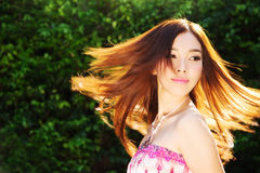 Asian Beautiful girl. Wear Pink dress Royalty Free Stock Photos